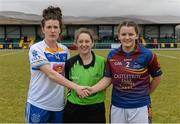 12 March 2016; Referee Yvonne Duffy with team captains Eva O'Dea, right, University of Limerick, and Bronagh Sheridan, Dublin Institute of Technology. Lynch Cup Final 2016, University of Limerick v Dublin Institute of Technology. John Mitchels GAA Club, Tralee, Co. Kerry. Picture credit: Brendan Moran / SPORTSFILE