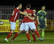 14 March 2016; Mark Timlim, right, St Patrick's Athletic, celebrates after scoring his side's first goal with team-mates Billy Dennehy, left, and Christy Fagan. SSE Airtricity League Premier Division, St Patrick's Athletic v Bohemians. Richmond Park, Dublin. Picture credit: David Maher / SPORTSFILE