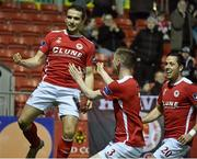 14 March 2016; Christy Fagan, left, St Patrick's Athletic, celebrates after scoring his side's second goal with team-mates Ian Bermingham and Billy Dennehy. SSE Airtricity League Premier Division, St Patrick's Athletic v Bohemians. Richmond Park, Dublin. Picture credit: David Maher / SPORTSFILE