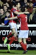 14 March 2016; Billy Dennehy, left, St Patrick's Athletic, celebrates after scoring his side's third goal with team-mate Conan Byrne. SSE Airtricity League Premier Division, St Patrick's Athletic v Bohemians. Richmond Park, Dublin. Picture credit: David Maher / SPORTSFILE