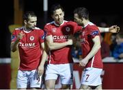 14 March 2016; Billy Dennehy, centre, St Patrick's Athletic, celebrates after scoring his side's third goal with team-mates Christy Fagan and Conan Byrne. SSE Airtricity League Premier Division, St Patrick's Athletic v Bohemians. Richmond Park, Dublin. Picture credit: David Maher / SPORTSFILE