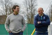 15 March 2016; IRFU Performance Director David Nucifora, left, in conversation with captain Rory Best during squad training. Carton House, Maynooth, Co. Kildare. Picture credit: Ramsey Cardy / SPORTSFILE