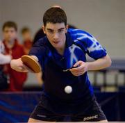 6 March 2010; Mark O'Flynn, East Point, Dublin, who was defeated in 5th set of the quarter-final. Butterfly National Senior Table Tennis Championships, DCU, Glasnevin, Co. Dublin. Picture credit: Ray McManus / SPORTSFILE