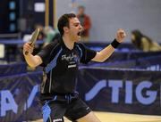 6 March 2010; John Murphy, UCD, celebrates beating Paul McCreery 3-1 to win the final of the Butterfly National Senior Table Tennis Championships, DCU, Glasnevin, Co. Dublin. Picture credit: Ray McManus / SPORTSFILE