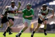 5 May 2001; Andrew O'Shaughnessy, St Colman's, in action against Shane Kavanagh, left, and Joseph O'Leary, Gort CS. Gort Community School v St Colman's (Fermoy), All-Ireland Colleges Senior 'A' Final, Croke Park, Dublin. Hurling   Picture credit; Ray McManus / SPORTSFILE