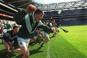 5 May 2001; The St Colman's substitutes celebrate at the end of the game. Gort Community School v St Colman's, Fermoy, All-Ireland Colleges Senior 'A' Final, Croke Park, Dublin. Hurling. Picture credit; Ray McManus / SPORTSFILE