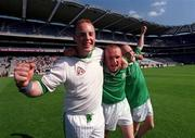 5 May 2001;  St Colman's players, Denis Fitzgerald, left, Richard Murphy and Brian Murphy celebrate at the end of the game. Gort Community School v St Colman's, Fermoy, All-Ireland Colleges Senior 'A' Final, Croke Park, Dublin. Hurling. Picture credit; Ray McManus / SPORTSFILE