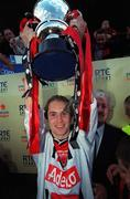 6 May 2001; Kevin Hunt, Bohemians captain lifts the eircom league trophy after victory over Kilkenny City, eircom league premier division, Kilkenny City v Bohemians, Soccer, Buckley Park, Co. Kilkenny. Picture credit; Damien Eagers/SPORTSFILE