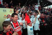 6 May 2001; Bohemians players celebrate after winning the  eircom league trophy after victory over Kilkenny City, eircom league premier division, Kilkenny City v Bohemians, Soccer, Buckley Park, Co. Kilkenny. Picture credit; Matt Browne/SPORTSFILE