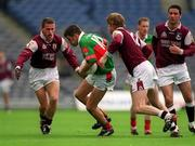 29 April 2001; James Gill, Mayo, is tackled by Lorcan Colleran, Galway. Mayo v Galway, National Football League Final, Croke Park, Dublin. Football. Picture credit; Ray McManus / SPORTSFILE