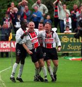 6 May 2001; Glen Crowe, Bohemians (10) is congratulated on scoring one of his sides goalsagainst Kilkenny City which resulted in Bohemians winning the League title. Kilkenny City v Bohemoians, eircom League, Premier Division, Buckley Park, Kilkenny. Soccer. Picture credit; Matt Browne / SPORTSFILE