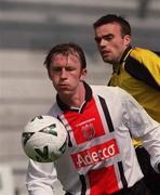 6 May 2001; Trevor Molloy, Bohemians in action against Damien Brennan, Kilkenny City. Kilkenny City v Bohemians, eircom League, Premier Division, Buckley Park, Kilkenny. Soccer. Picture credit; Matt Browne / SPORTSFILE