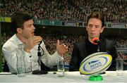 16 March 2016; Former Leinster player Gordon D'Arcy, left, and snooker player Ken Doherty during the 2FM Game On International Special at the Aviva Fan Studio in Aviva Stadium. 70 lucky fans had the opportunity to attend the broadcast of the Aviva sponsored Game On on RTÉ 2FM previewing Saturday's match between Ireland and Scotland in Aviva Stadium. Aviva Stadium, Lansdowne Road, Dublin. Picture credit: Piaras Ó Mídheach / SPORTSFILE