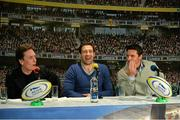 16 March 2016; Pictured are, from left to right, snooker player Ken Doherty, former Leinster player Kevin McLaughlin and former Munster player David Wallace during the 2FM Game On International Special at the Aviva Fan Studio in Aviva Stadium. 70 lucky fans had the opportunity to attend the broadcast of the Aviva sponsored Game On on RTÉ 2FM previewing Saturday's match between Ireland and Scotland in Aviva Stadium. Aviva Stadium, Lansdowne Road, Dublin. Picture credit: Piaras Ó Mídheach / SPORTSFILE