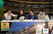 16 March 2016; Pictured are, from left to right, former Leinster player Gordon D'Arcy, snooker player Ken Doherty, former Leinster player Kevin McLaughlin and former Munster player David Wallace during the 2FM Game On International Special at the Aviva Fan Studio in Aviva Stadium. 70 lucky fans had the opportunity to attend the broadcast of the Aviva sponsored Game On on RTÉ 2FM previewing Saturday's match between Ireland and Scotland in Aviva Stadium. Aviva Stadium, Lansdowne Road, Dublin. Picture credit: Piaras Ó Mídheach / SPORTSFILE