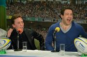 16 March 2016; Former Leinster player Kevin McLaughlin, right, and snooker player Ken Doherty during the 2FM Game On International Special at the Aviva Fan Studio in Aviva Stadium. 70 lucky fans had the opportunity to attend the broadcast of the Aviva sponsored Game On on RTÉ 2FM previewing Saturday's match between Ireland and Scotland in Aviva Stadium. Aviva Stadium, Lansdowne Road, Dublin. Picture credit: Piaras Ó Mídheach / SPORTSFILE