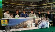 16 March 2016; Pictured are, from left to right, former Leinster player Gordon D'Arcy, snooker player Ken Doherty, former Leinster player Kevin McLaughlin, former Munster player David Wallace, Alan Cawley, Game On pundit, and presenter Hugh Cahill during the 2FM Game On International Special at the Aviva Fan Studio in Aviva Stadium. 70 lucky fans had the opportunity to attend the broadcast of the Aviva sponsored Game On on RTÉ 2FM previewing Saturday's match between Ireland and Scotland in Aviva Stadium. Aviva Stadium, Lansdowne Road, Dublin. Picture credit: Piaras Ó Mídheach / SPORTSFILE