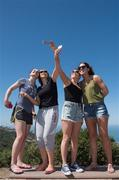 16 March 2016; Taking a selfie on Mount Soledad during a tour of the city of San Diego are, from, left, Ciamh Dollard, Laois, Fiona Kindlon, Monaghan, Sarah Houlihan, Kerry, and Aislinn Desmond, Kerry. TG4 Ladies Football All-Star Tour. San Diego, California, USA. Picture credit: Brendan Moran / SPORTSFILE