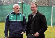 17 March 2016; Ireland team manager Mick Kearney and Northern Ireland football manager Michael O'Neill, right, watch on during squad training. Carton House, Maynooth, Co. Kildare. Picture credit: David Maher / SPORTSFILE