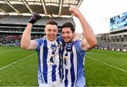 17 March 2016; Cathal Flaherty and Bob Dwan, Ballyboden St Endas, celebrate after the game. AIB GAA Football All-Ireland Senior Club Championship Final, Ballyboden St Endas, Dublin, v Castlebar Mitchels, Mayo. Croke Park, Dublin. Picture credit: Ray McManus / SPORTSFILE