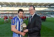 17 March 2016; Pictured is Tom Kinsella, Chief Marketing Officer, AIB, presenting Bob Dwan, Ballyboden St Endas, with the Man of the Match award for his outstanding performance in the AIB GAA Senior Football Club Championship Final, Ballyboden St Enda's vs Castlebar Mitchels in Croke Park on St Patrick's Day. For exclusive content and to see why AIB are backing Club and County follow us @AIB_GAA and on Facebook at Facebook.com/AIBGAA. AIB GAA Football All-Ireland Senior Club Championship Final, Ballyboden St Endas v Castlebar Mitchels, Croke Park, Dublin. Picture credit: Stephen McCarthy / SPORTSFILE