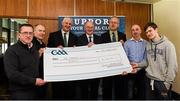 17 March 2016; GAA Vice President and Chairman of Leinster Council John Horan, 4th from left, makes a presentation to Na Fianna GAA Club, Mobhi Road, Dublin, members, left to right, Brendan Roddy, Frank Twomey, Martin Quilty, Colum Cronin, Chairman, Fran Cullen, and Paul Twomey, during the presentation of prizes to the winners of the GAA National Club Draw. Nally Suite, Croke Park, Dublin. Picture credit: Ray McManus / SPORTSFILE