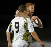 12 March 2010; Gary O'Neill, left, Sporting Fingal, celebrates after scoring his side's first goal with team-mate Keith Quinn. Airtricity League Premier Division, Sporting Fingal v Sligo Rovers, Morton Stadium, Santry, Co. Dublin. Picture credit: David Maher / SPORTSFILE