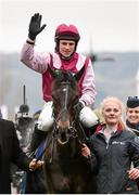 18 March 2016; Harry Skelton celebrates winning the Vincent O'Brien County Handicap Hurdle on Superb Story. Prestbury Park, Cheltenham, Gloucestershire, England. Picture credit: Cody Glenn / SPORTSFILE