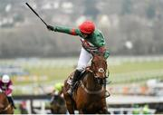 18 March 2016; Noel Fehily celebrates as he crosses the line to win the Albert Bartlett Novices' Hurdle on Unowhatimeanharry. Prestbury Park, Cheltenham, Gloucestershire, England. Picture credit: Seb Daly / SPORTSFILE