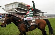18 March 2016; Noel Fehily celebrates after winning the Albert Bartlett Novices' Hurdle on Unowhatimeanharry. Prestbury Park, Cheltenham, Gloucestershire, England. Picture credit: Seb Daly / SPORTSFILE