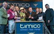 18 March 2016; Jockey Bryan Cooper with, from left, Michael O'Leary, Anita O'Leary, Princess Anne, Trainer Gordon Elliott, Jack O'Leary, and winning connections after winning the Timico Cheltenham Gold Cup on Don Cossack. Prestbury Park, Cheltenham, Gloucestershire, England. Picture credit: Cody Glenn / SPORTSFILE