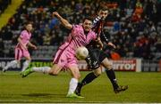18 March 2016; Eric Molloy, Wexford Youths, in action against Dan Byrne, Bohemians. SSE Airtricity League Premier Division, Bohemians v Wexford Youths. Dalymount Park, Dublin.  Picture credit: Piaras Ó Mídheach / SPORTSFILE
