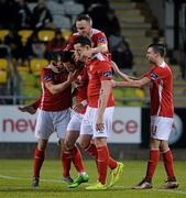 18 March 2016; Billy Dennehy, second from left, St Patrick's Athletic, celebrates after scoring his side's first goal with team-mates Christy Fagan, Graham Kelly, Shane McEleney and Mark Timlin. SSE Airtricity League Premier Division, Shamrock Rovers v St Patrick's Athletic. Tallaght Stadium, Tallaght, Dublin.  Picture credit: David Maher / SPORTSFILE