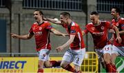 18 March 2016; Christy Fagan, left, St Patrick's Athletic, celebrate's after scoring his side's second goal with team-mate Ian Bermingham, Graham Kelly and Billy Dennehy. SSE Airtricity League Premier Division, Shamrock Rovers v St Patrick's Athletic. Tallaght Stadium, Tallaght, Dublin 24.  Picture credit: David Maher / SPORTSFILE