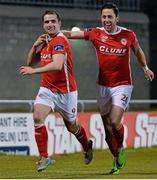 18 March 2016; Christy Fagan, left, St Patrick's Athletic, celebrates after scoring his side's second goal with team-mate Billy Dennehy. SSE Airtricity League Premier Division, Shamrock Rovers v St Patrick's Athletic. Tallaght Stadium, Tallaght, Dublin. Picture credit: David Maher / SPORTSFILE