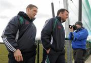 14 March 2010; Kildare manager Kieran McGeeney, left, with selector Aidan O'Rourke as they leave the field. Allianz GAA Football National League, Division 2, Round 4, Armagh v Kildare, St Oliver Plunkett Park, Crossmaglen, Co. Armagh. Picture credit: Oliver McVeigh / SPORTSFILE