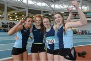 19 March 2016; From left, Rachel Walsh, Aoife Doyle, Miriam Daly, and Roseanne Fitzgerald, Carrick-on-Suir A.C., Co. Tipperary, after winning the Girl's Under 19 4x200M relay, at the GloHealth Indoor National Championships Juvenile Track & Field. AIT, Athlone, Co. Westmeath. Picture credit: Paul Mohan / SPORTSFILE