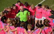 19 March 2016; Manager Eamonn Ryan speaks to his 2015 All Star team at half-time. TG4 Ladies Football All-Star Tour, 2014 All Stars v 2015 All Stars. University of San Diego, Torero Stadium, San Diego, California, USA. Picture credit: Brendan Moran / SPORTSFILE