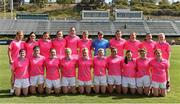 19 March 2016; The 2015 All Star team, back row, from left, Tracey Leonard, Galway, Sinead Goldrick, Dublin, Ciara Hegarty, Donegal, Aimee Mackin, Armagh, Aine Tighe, Leitrim, Cora Staunton, Mayo, Linda Martin, Monaghan, Annie Walsh, Cork, Rena Buckley, Cork, Caroline Kelly, Kerry and Vera Foley, Cork, with front, from left, Geraldine Conneally, Galway, Niamh McEvoy, Dublin, Geraldine McLaughlin, Donegal, Valerie Mulcahy, Cork, Carla Rowe, Dublin, Briege Corkery, Cork, Aislinn Leonard, Kerry, Linda Wall, Waterford, Marie Ambrose, Cork and Sinead Finnegan, Dublin. TG4 Ladies Football All-Star Tour, 2014 All Stars v 2015 All Stars. University of San Diego, Torero Stadium, San Diego, California, USA. Picture credit: Brendan Moran / SPORTSFILE