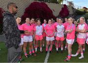19 March 2016; Former Miami Dolphin NFL football player  Roberto Wallace speaks to Ladies All Stars, from left, Ciara Hegarty, Donegal, Caroline Kelly, Kerry, Aislinn Desmond, Kerry, Sarah Houlihan, Kerry, Lyndsay Davey, Dublin, Geraldine McLaughlin, Donegal, Niamh McEvoy, Dublin, Noelle Healy, Dublin, Annie Walsh, Cork, Valerie Mulcahy, Cork and Angela Walsh, Cork, after the game. TG4 Ladies Football All-Star Tour, 2014 All Stars v 2015 All Stars. University of San Diego, Torero Stadium, San Diego, California, USA. Picture credit: Brendan Moran / SPORTSFILE