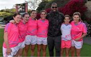 19 March 2016; Former Miami Dolphin NFL football player Roberto Wallace poses for a photo with Ladies All Stars, from left, Linda Wall, Waterford, Geraldine McLaughlin, Donegal, Caroline Kelly, Kerry, Aislinn Desmond, Kerry, Sarah Houlihan, Kerry and Ciara Hegarty, Donegal, after the game. TG4 Ladies Football All-Star Tour, 2014 All Stars v 2015 All Stars. University of San Diego, Torero Stadium, San Diego, California, USA. Picture credit: Brendan Moran / SPORTSFILE