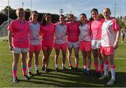 19 March 2016; Dublin Ladies Football All Stars, from left, Carla Rowe, Noelle Healy, Sinead Goldrick, Sinead Aherne, Sinead Finnegan, Lyndsay Davey, Niamh McEvoy and Sorcha Furlong, after the game. TG4 Ladies Football All-Star Tour, 2014 All Stars v 2015 All Stars. University of San Diego, Torero Stadium, San Diego, California, USA. Picture credit: Brendan Moran / SPORTSFILE