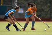 20 March 2016; Hannah Coey, Ards, in action against Dawn Axon, Ulster Elks. Irish Senior Women's Cup Final, Ards v Ulster Elks, National Hockey Stadium, UCD, Belfield, Dublin. Picture credit: Paul Mohan / SPORTSFILE