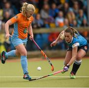20 March 2016; Chloe Brown, Ards, in action against Robyn Chambers, Ulster Elks. Irish Senior Women's Cup Final, Ards v Ulster Elks, National Hockey Stadium, UCD, Belfield, Dublin. Picture credit: Paul Mohan / SPORTSFILE