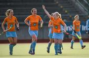 20 March 2016; Chloe Brown, right, Ards, celebrates after scoring her side's first goal. Irish Senior Women's Cup Final, Ards v Ulster Elks, National Hockey Stadium, UCD, Belfield, Dublin. Picture credit: Paul Mohan / SPORTSFILE