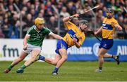 20 March 2016; David Reidy, Clare, in action against Paul Browne, Limerick. Allianz Hurling League, Division 1B, Round 5, Clare v Limerick. Cusack Park, Ennis, Co. Clare. Picture credit: Diarmuid Greene / SPORTSFILE