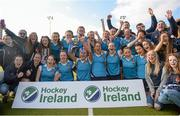 20 March 2016; Ulster Elks celebrate with the cup after the game. Irish Senior Women's Cup Final, Ards v Ulster Elks, National Hockey Stadium, UCD, Belfield, Dublin. Picture credit: Paul Mohan / SPORTSFILE