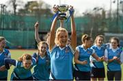 20 March 2016; Ulster Elks captain Kirstie Lammey celebrates with the cup after the game. Irish Senior Women's Cup Final, Ards v Ulster Elks, National Hockey Stadium, UCD, Belfield, Dublin. Picture credit: Paul Mohan / SPORTSFILE