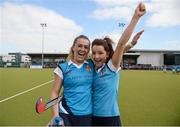 20 March 2016; Robyn Chambers, left, and Dawn Axon, Ulster Elks, celebrate after the game. Irish Senior Women's Cup Final, Ards v Ulster Elks, National Hockey Stadium, UCD, Belfield, Dublin. Picture credit: Paul Mohan / SPORTSFILE