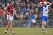 20 March 2016; Galway's Aidan Harte and Waterford's Shane Roche at the final whistle, after the game finished a draw. Allianz Hurling League, Division 1A, Round 5, Waterford v Galway, Walsh Park, Waterford. Picture credit: Ramsey Cardy / SPORTSFILE